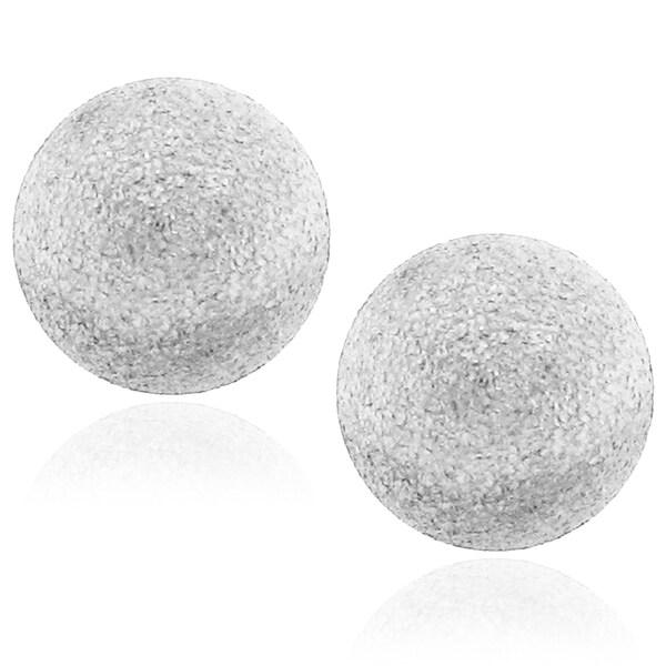 Stainless Steel 12-mm Textured Ball Earrings