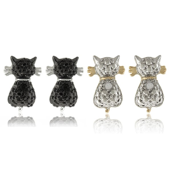 Finesque Goldplated and Black-plated Diamond Accent Cat Stud Earring Set