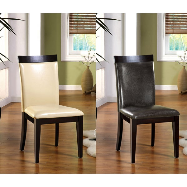 """Furniture of America Brennan Two-Tone Contemporary Dining Chairs (Set of 2) - 23 1/2""""w x 20 1/2""""d x 39 1/2""""h (seat ht: 19 3/"""