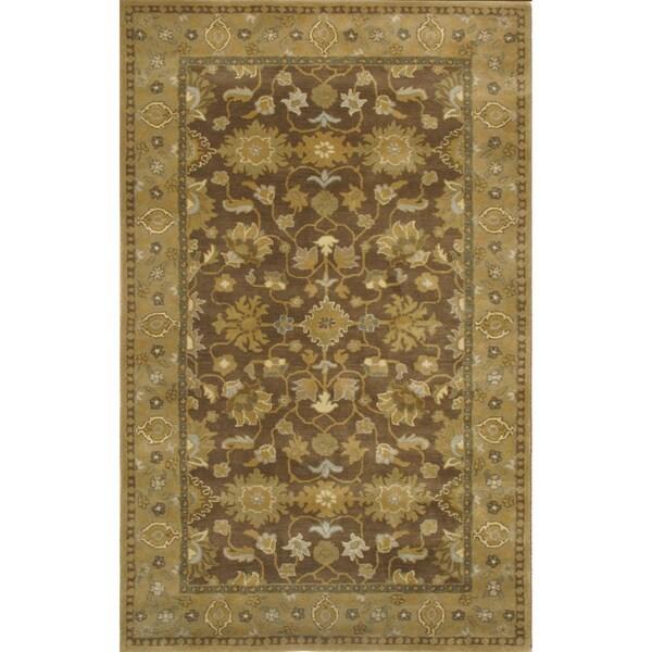 Handmade Graham Khaki Wool Rug (5' x 8')