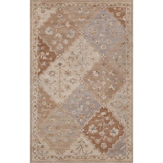 Handmade Diamond Beige Wool Rug (5' x 8')