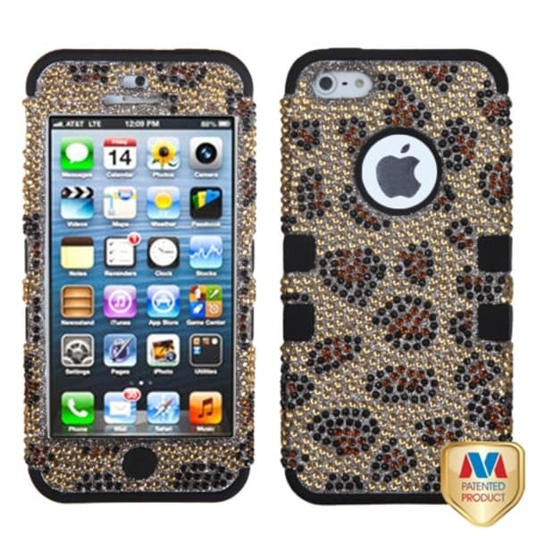 INSTEN Leopard/ Camel Diamante Phone Case Cover for Apple iPhone 5