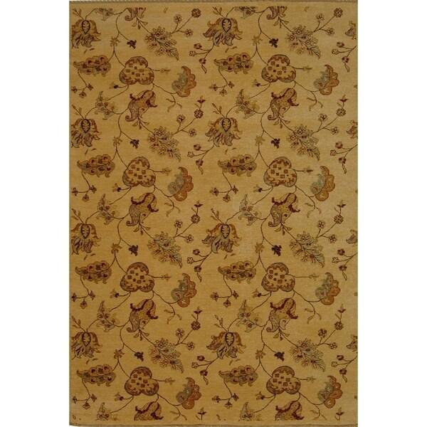 Safavieh Hand-knotted Agra Beige Wool Rug (10' x 14')
