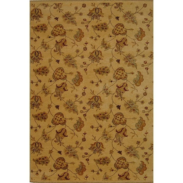 Safavieh Hand-knotted Agra Beige Wool Rug (5' x 8')