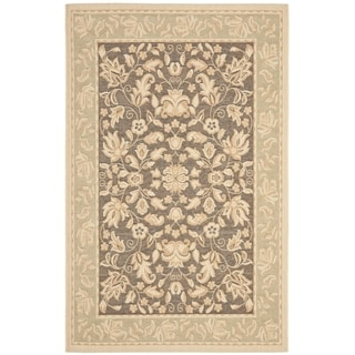 Safavieh Beach House Indoor/ Outdoor Dark Brown/ Green Rug (4' x 5'7)