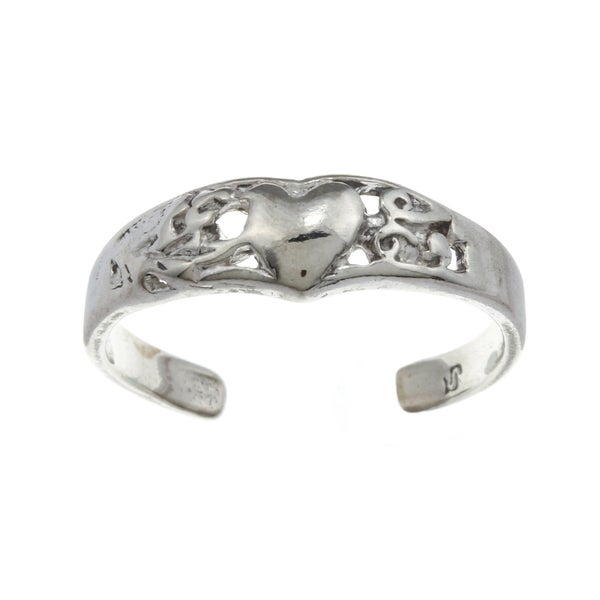 Sterling Silver Heart and Vines Adjustable Toe Ring