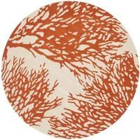 Safavieh Handmade Bella Beige/ Terracotta Wool Rug - 5' x 5' round