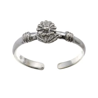 Sterling Silver Blossomed Lily Adjustable Toe Ring