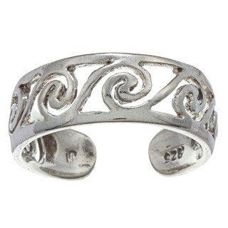Sterling Silver Scroll Filigree Adjustable Toe Ring