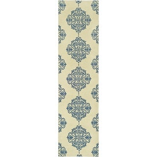 Safavieh Hand-hooked Chelsea Ivory/ Blue Wool Rug (2'6 x 12')