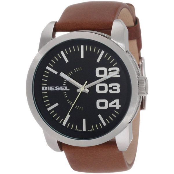 Diesel Men's Black Dial Brown Leather Strap Watch - One Size. Opens flyout.
