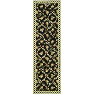 Safavieh Hand-hooked Chelsea Black/ Ivory Wool Rug (2'6 x 10')
