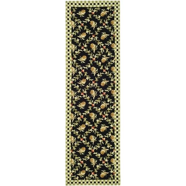 Safavieh Hand-hooked Chelsea Black/ Ivory Wool Rug (2'6 x 12')