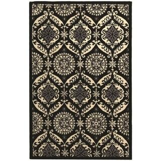 "Safavieh Hand-Hooked Chelsea Black/Ivory Wool Geometric Rug (5'3"" x 8'3"")"