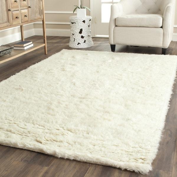 Safavieh Handmade Flokati Ivory Wool Rug 5 X 8 Free