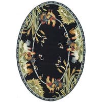 Safavieh Hand-hooked Chelsea Black Wool Rug - 4'6' x 6'6 oval