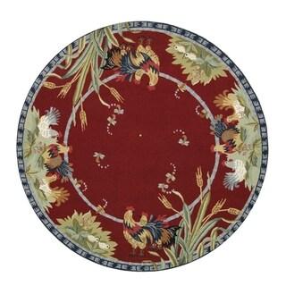 Safavieh Hand-hooked Chelsea Burgundy Wool Rug - 4' Round