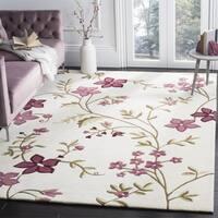 Safavieh Handmade Capri Ivory/ Purple Wool Rug - 3' x 5'