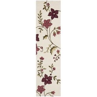 Safavieh Handmade Capri Ivory/ Purple Wool Rug (2'3 x 9')
