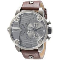 Diesel Men's  Brown Leather Strap Grey Dial Chronograph Watch