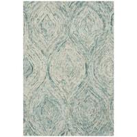 Safavieh Handmade Ikat Ivory/ Sea Blue Wool Rug - 2' x 3'