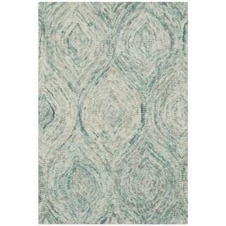 Safavieh Handmade Ikat Ivory/ Sea Blue Wool Rug (2' x 3')