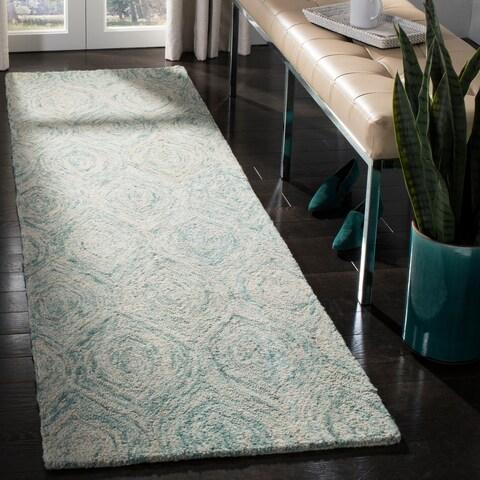 """Safavieh Handmade Ikat Ivory/ Sea Blue Wool Rug - 2'3"""" x 8'"""