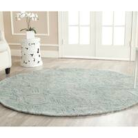 Safavieh Handmade Ikat Ivory/ Sea Blue Wool Rug - 6' x 6' Round