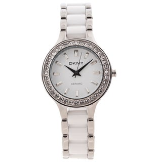 DKNY Women's NY8139 'Chambers' Stainless Steel and Ceramic Watch|https://ak1.ostkcdn.com/images/products/7886266/7886266/DKNY-Womens-White-Ceramic-Stainless-Steel-Bracelet-Watch-P15268545.jpg?_ostk_perf_=percv&impolicy=medium