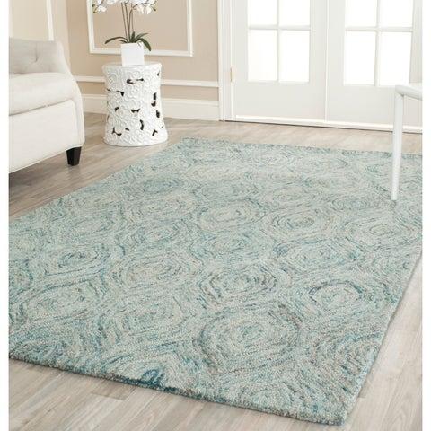 Safavieh Handmade Ikat Ivory/ Sea Blue Wool Rug - 6' x 6' Square