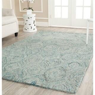 Safavieh Handmade Ikat Ivory/ Sea Blue Wool Rug - 6' Square