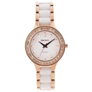DKNY Women's NY8141 'Chambers' Stainless Steel and Ceramic Watch|https://ak1.ostkcdn.com/images/products/7886270/DKNY-Womens-Rose-goldtone-White-Ceramic-Watch-P15268547.jpg?impolicy=medium