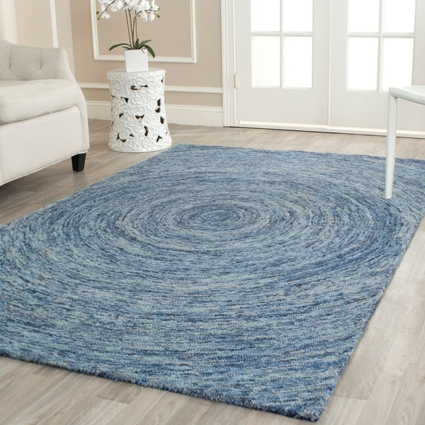 Safavieh Handmade Ikat Dark Blue/ Multi Wool Rug - 4' x 6'