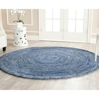 Safavieh Handmade Ikat Dark Blue/ Multi Wool Rug - 6' Round