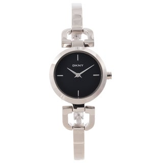 DKNY Women's Black Dial Silvertone Bangle Watch