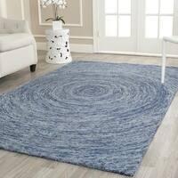 Safavieh Handmade Ikat Dark Blue/ Multi Wool Rug (6' x 6' Square)