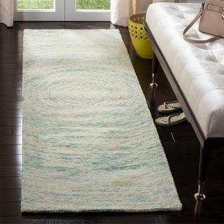 Safavieh Handmade Ikat Ivory/ Blue Wool Rug (2'3 x 8')
