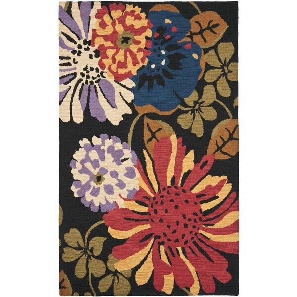 Safavieh Handmade Jardin Black/Multi Floral Wool Rug - 8' x 10'