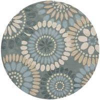 Safavieh Handmade Jardin Grey/ Blue Wool Rug - 6' Round