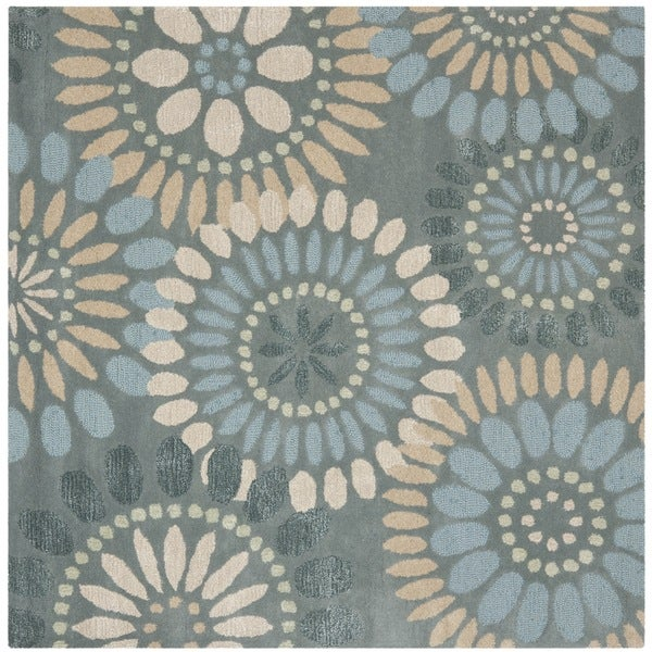 Safavieh Handmade Jardin Grey/ Blue Wool Rug (6' x 6' Square)