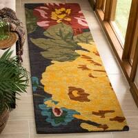 Safavieh Handmade Jardin Black/ Multi Wool Rug (2'3 x 8')