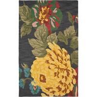 Safavieh Handmade Jardin Black/ Multi Wool Rug - 5' x 8'