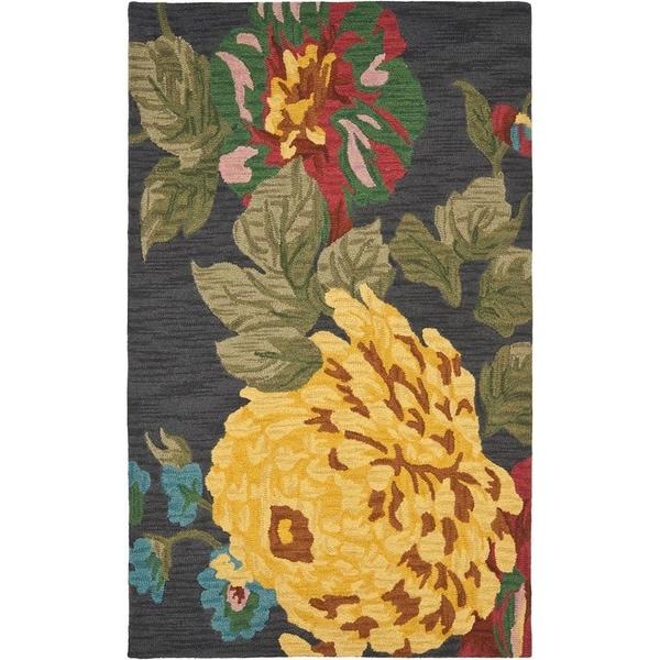 Safavieh Handmade Jardin Black/ Multi Wool Rug - 8' x 10'