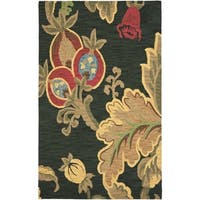 Safavieh Handmade Jardin Black/Multi Wool Floral Rug (4' x 6') - 4' x 6'