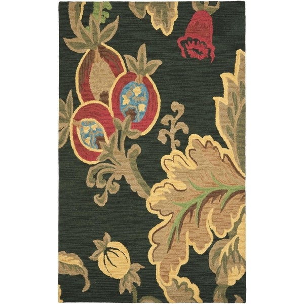 Safavieh Handmade Jardin Black/Multi Contemporary Wool Rug - 8' x 10'