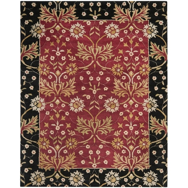 Safavieh Handmade Jardin Red/ Black Wool Rug - 8' x 10'