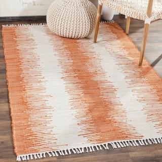 Safavieh Hand-woven Montauk Orange Cotton Rug (4' x 6')