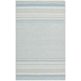 Safavieh Hand-woven Kilim Light Blue/ Ivory Wool Rug (2'6 x 4')