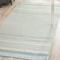 Safavieh Hand-woven Kilim Light Blue/ Ivory Wool Rug - 3' x 5'