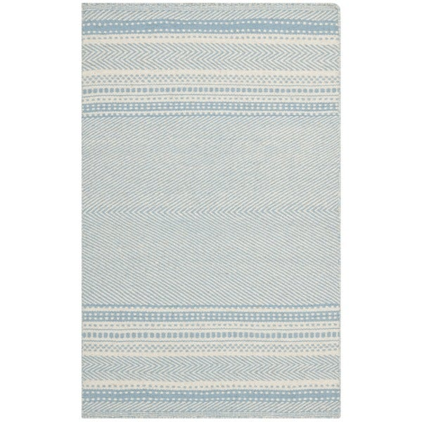 Safavieh Hand Woven Kilim Light Blue Ivory Wool Rug 3 X